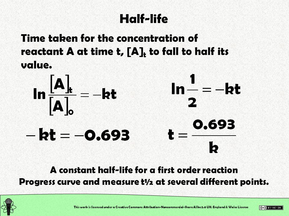 Half-life Time taken for the concentration of reactant A at time t, [A]t to fall to half its value.